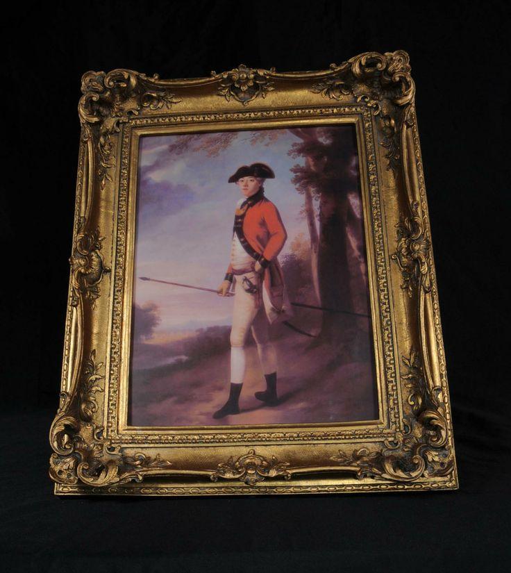 English Georgian Oil Painting Nobleman Red Coat Portrait Gilt Frame