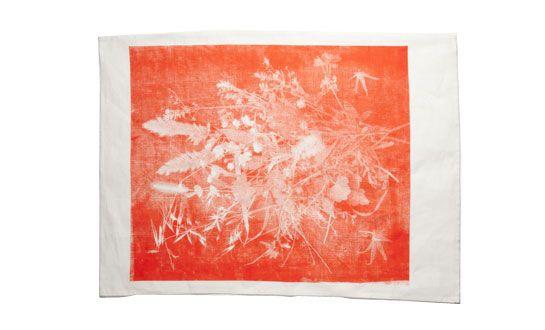 Orange tea towel: Neil Textiles, Artists Textiles