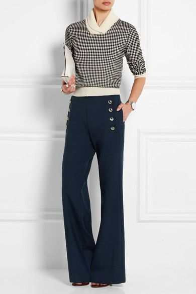 Navy stretch-wool Concealed zip fastening along side 95% wool, 5% elastane; pocket lining: 70% acetate, 30% silk Dry clean Designer color: Dark Navy
