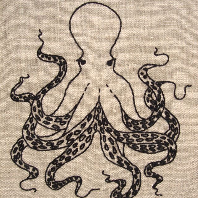 Designed and packaged by iHeartStitchArt, this octopus embroidery pattern comes in a complete kit with thread and linen.  Each kit contains: A linen panel, comp