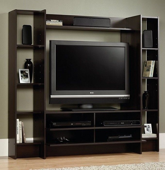 Tv Stand Entertainment Center Media Storage Console Shelving Wall