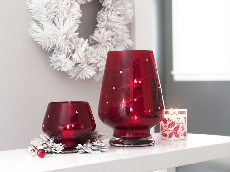 Crimson Sparkle with PartyLite...Hurricane (including the Universal Tealight Tree) and Votive Holder