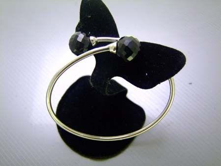 925 Sterling Silver Bangle w/ Black Spinal Gems (Order)