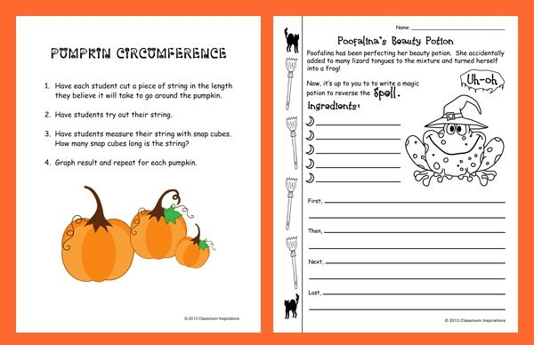Freebie~ Pumpkin centers, writing activity and daily riddles to make a potion!  It also comes with cute baggie candy toppers!