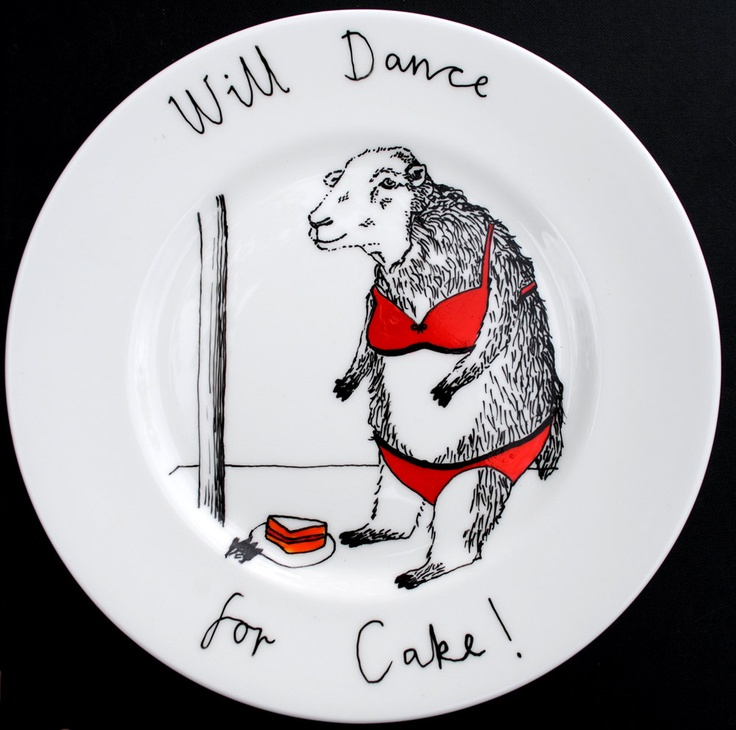 Hand Painted Side Plate - Dancing Sheep. $58.00, via Etsy.