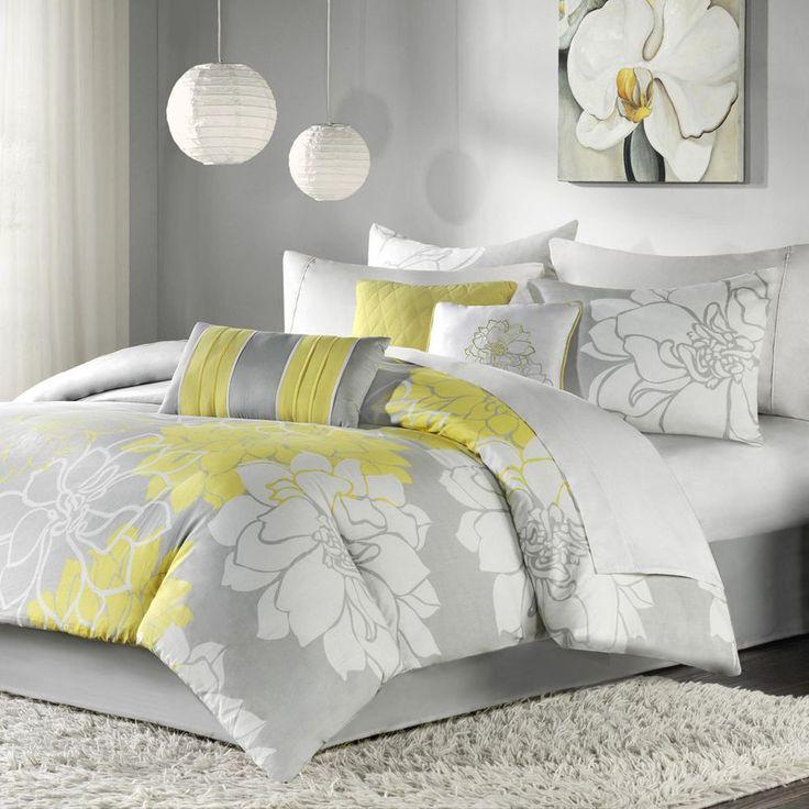 Beautiful 7 Pc Elegant Chic Grey Yellow Modern Comforter Set Cal , Queen ,  King