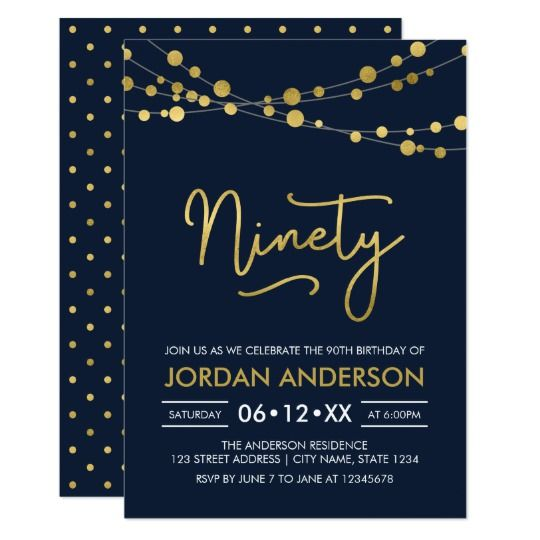 Elegant Modern Blue String Of Lights 90th Birthday Invitation By Rosewood And Citrus On Zazzle