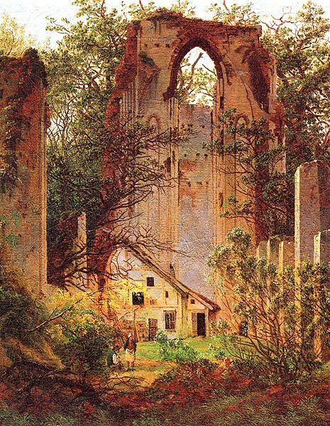 Andrei Tarkovsky, Nostalghia, 1983. // Caspar David Friedrich, Ruine Eldena, 1825.