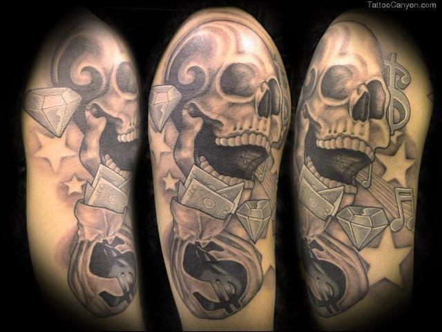 Skulls And Money Tattoos Skull with money bag tattoos