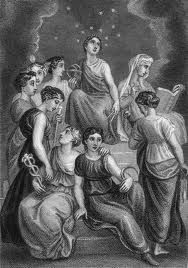 Nine Muses are Calliope, Muse of epic song, Clio, Muse of history, Euterpe, Muse of lyric song, Thalia, Muse of comedy and bucolic poetry, Melpomene, Muse of tragedy, Terpsichore, Muse of dance, Erato, Muse of erotic poetry, Polyhymnia, Muse of sacred song, and Urania, Muse of astronomy. #FredericClad