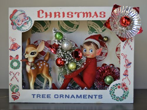 A Repurposed Christmas: Vintage Ornament Shadow Boxes   She has lots more examples of these retro Christmas decoration boxes. Love the little elf!