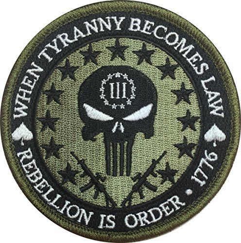 Patch Squad Men's Three Percent Tyranny Punisher Liberty Morale Patch ( I'd put it on a Jean jacket )