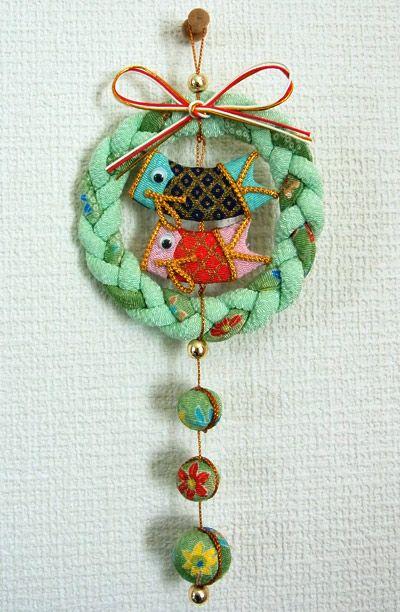 Carp Streamer Hanging,made from Kimono fabric,Chirimen