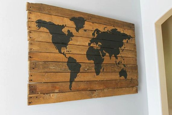 repurposed, pallet wood,  travel, world map on Etsy, so unique!!