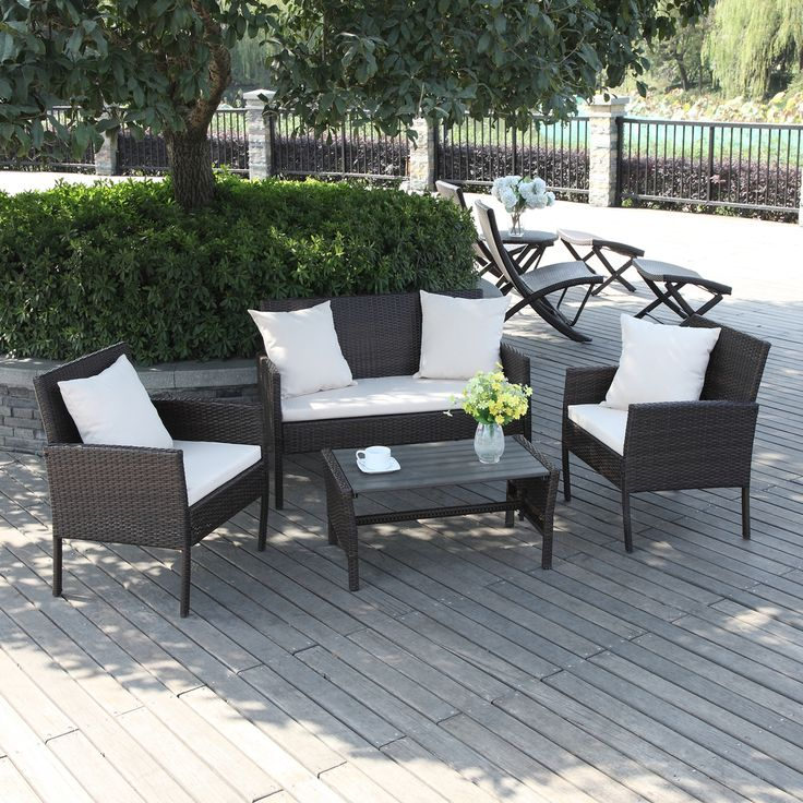 Exceptional Portfolio Aldrich Brown 4 Piece Wicker Indoor/Outdoor Seating Grouping  (Brown), Beige, Size 4 Piece Sets, Patio Furniture (Aluminum)