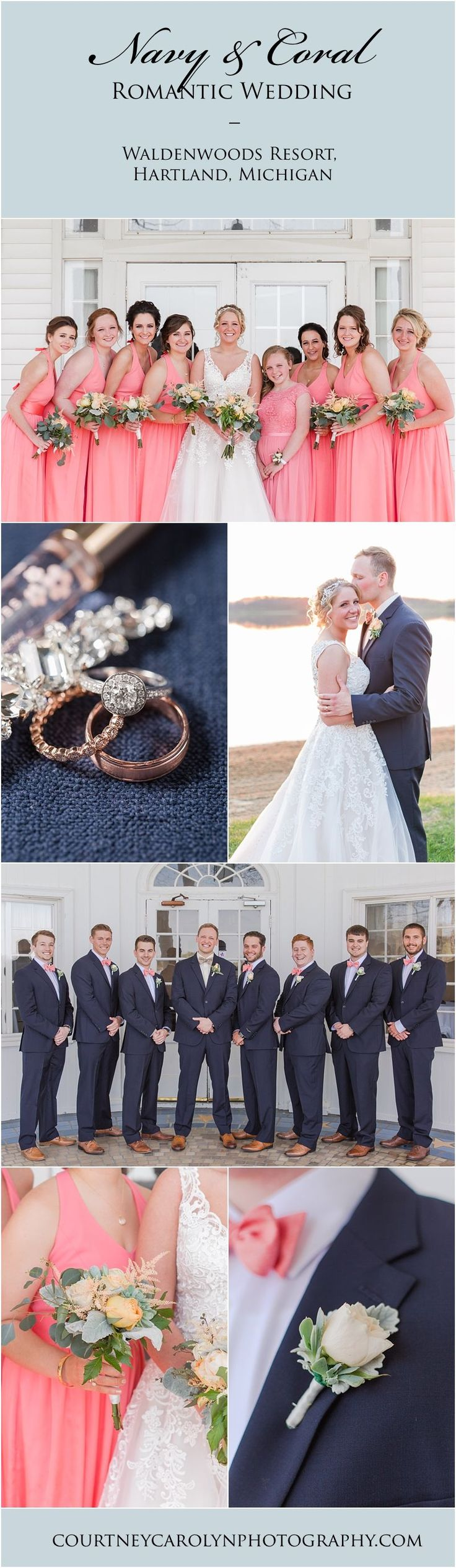 Navel, Coral, and Gold wedding day inspiration. Bride wore beautiful lace dress, bridesmaids wore coral, and the groomsmen wore navy suits with coral bow ties at a waterfront ceremony at Waldenwoods Resort in Hartland, Michigan. #CoralWeddingIdeas