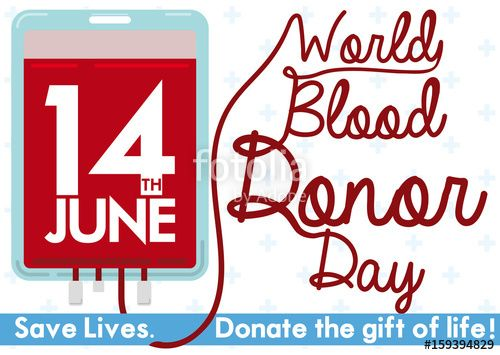 Blood Bag and Message with Tube for Blood Donor Day