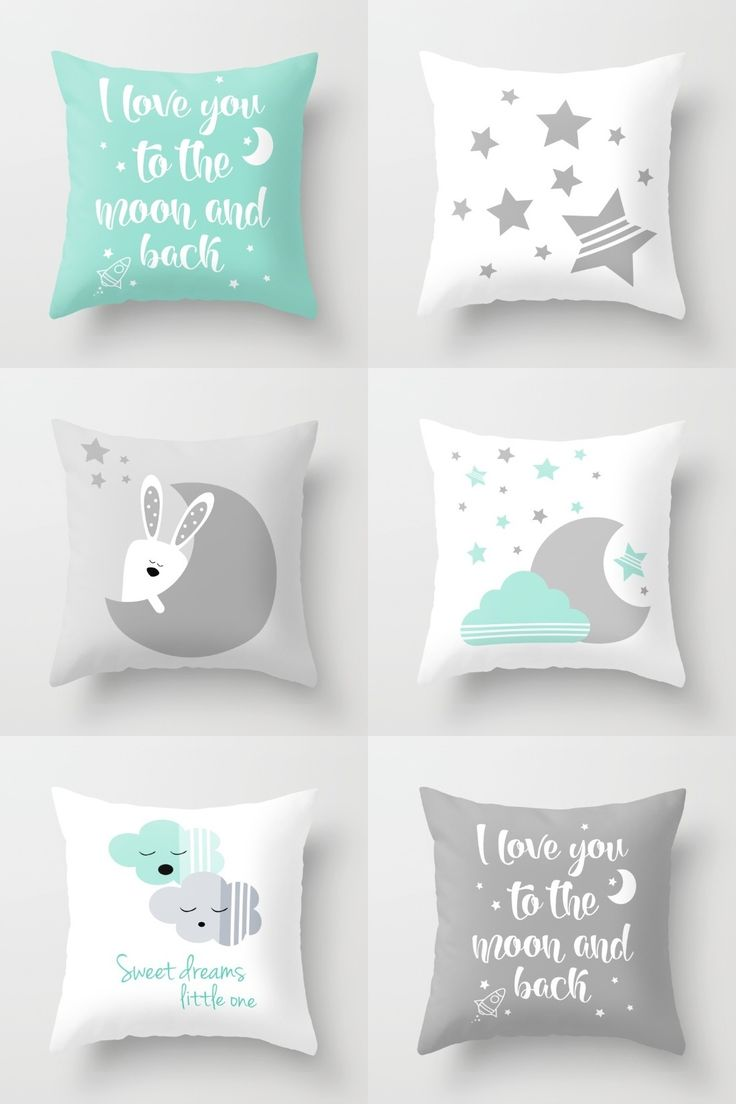 Mint and gray gender neutral nursery decor - modern nursery throw pillows by Limitation Free on Society6