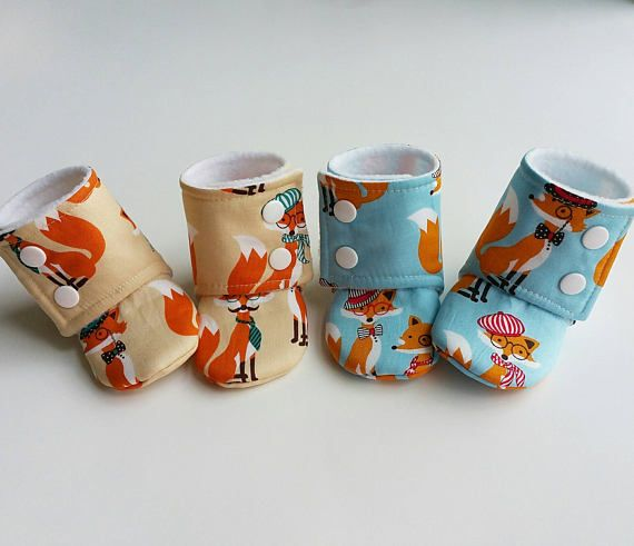 Baby Booties Baby Gifts Stay-on Booties Fabric Boots Fox Baby Shoes etsy
