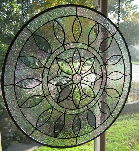 Large Round Iridized Victorian Stained Glass Window Panel EBSQ Artist | stainedglassheirlooms - Glass on ArtFire