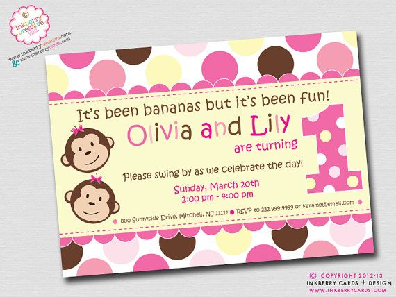 Twin Monkey Girls - First Birthday Party Invitation (Digital File - Printed Cards Also Available)