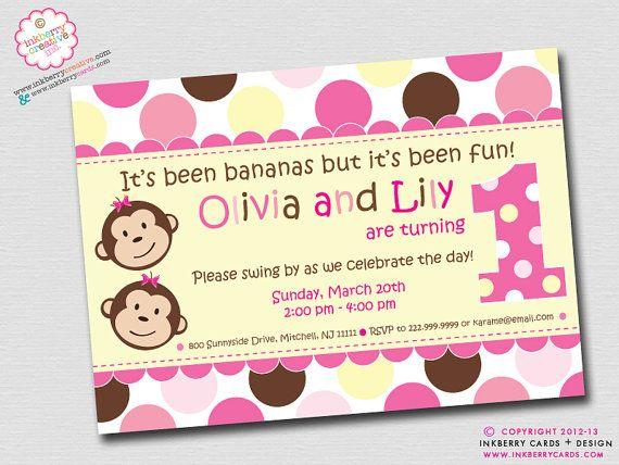 1st Birthday Party Twins   Twin Monkey Girls - First Birthday Party Invitation (Digital File ...
