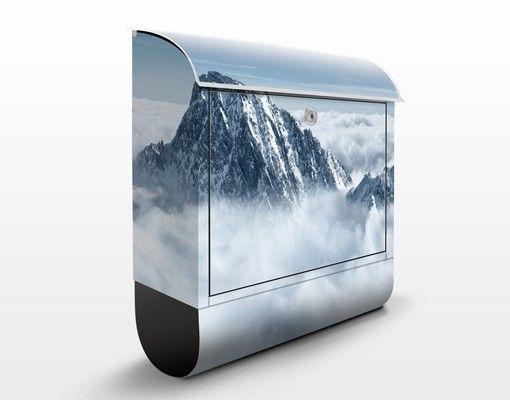 #Briefkasten mit Zeitungsfach – Die Alpen über den #Wolken - Hausbriefkasten #Winter #Schnee #Kälte