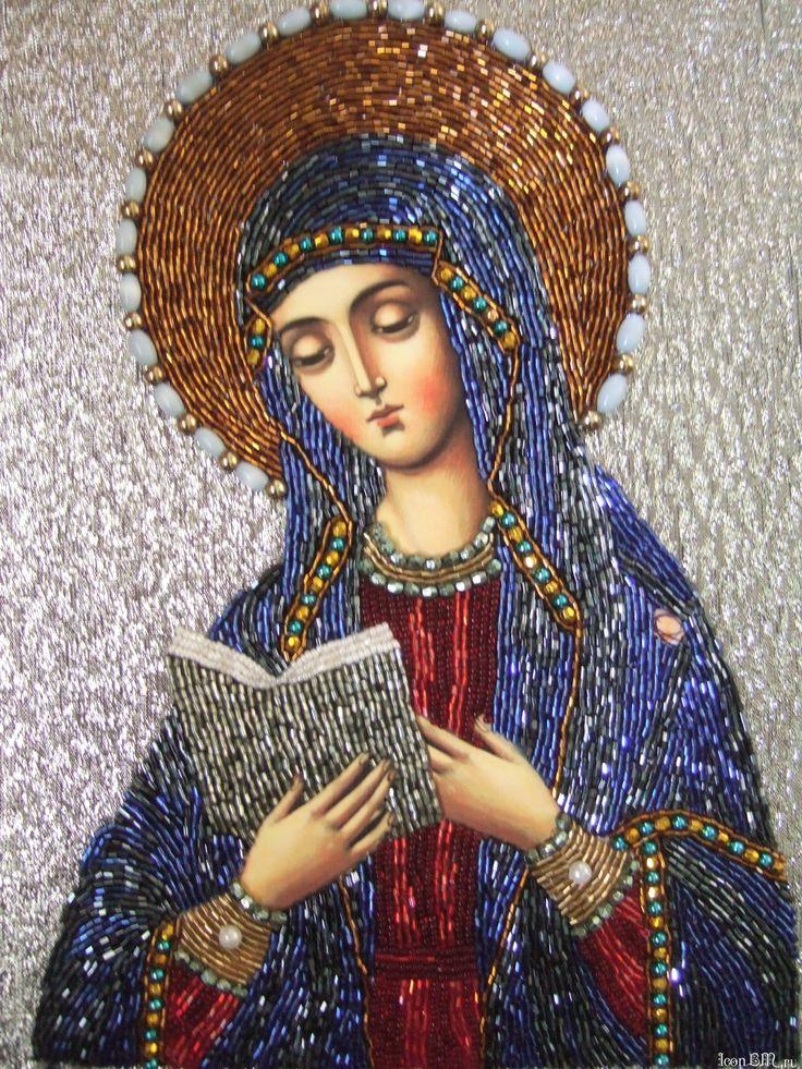 Вышитая бисером икона Калужской Божьей Матери