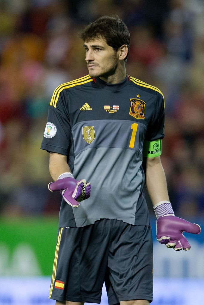 Goalkeeper Iker Casillas of Spain reacts during the FIFA 2014 World Cup Qualifier match between Spain and Georgia at Carlos Belmonte stadium on October 15, 2013 in Albacete, Spain.