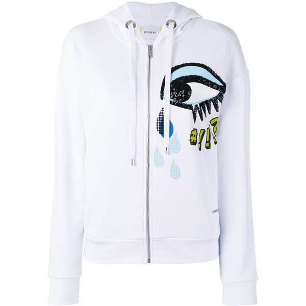 Iceberg sequins eye zip up hoodie ($200) ❤ liked on Polyvore featuring tops, hoodies, white, white top, zip up hoodies, white hooded sweatshirt, white zip up hoodies and zip up hoodie