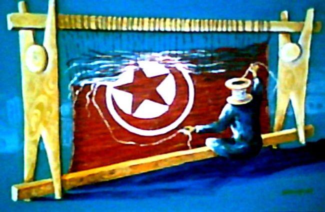 la patrie - Painting,  55x90 cm ©2008 by Mohamed Sakhri -