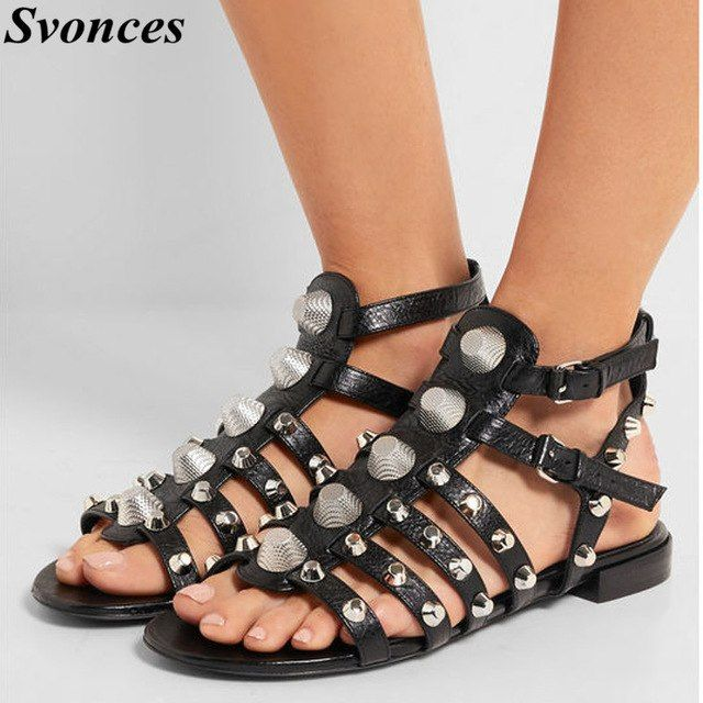 Studded shoes for women | Studded sandals, Open toe sandals