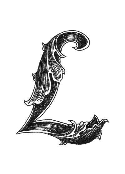 Leaf Script L Art Prin...U Letter Design Tattoo