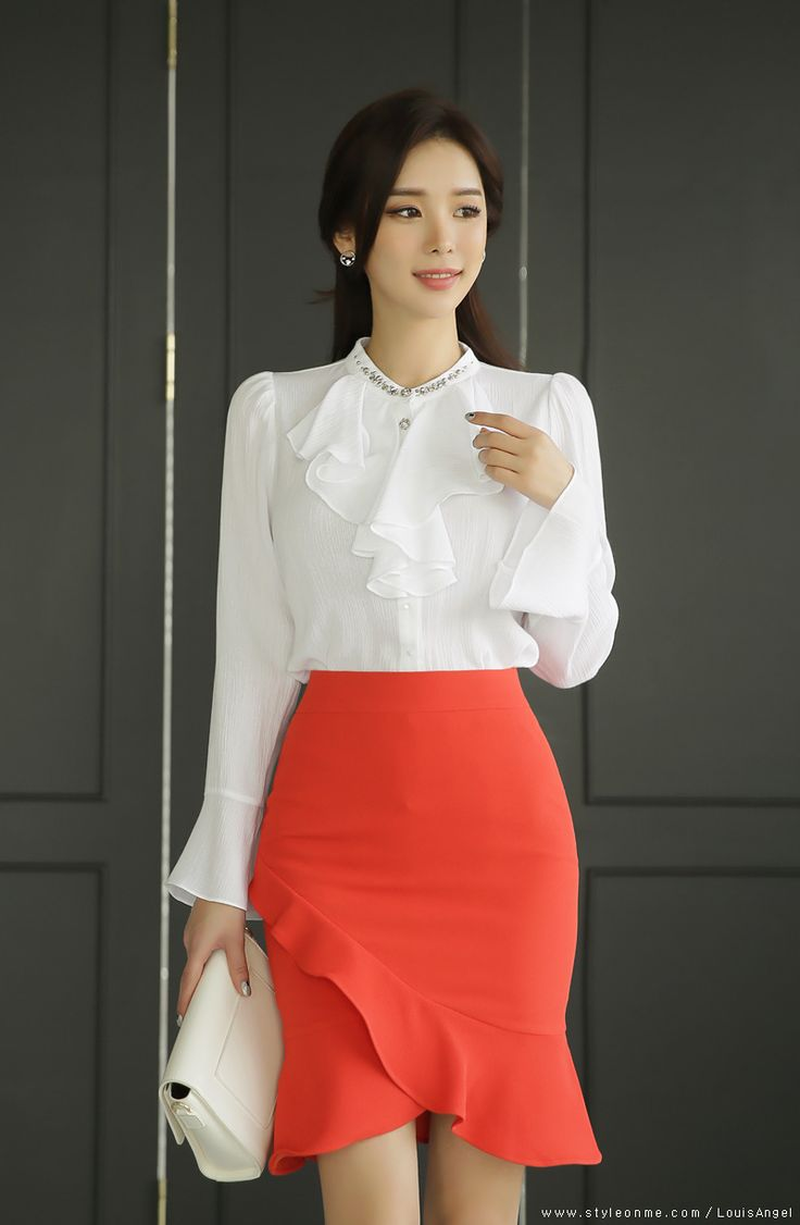 Romantic Ruffle Tulip Hem Pencil Skirt
