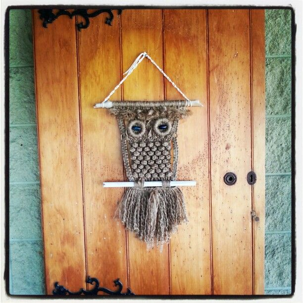 Rustic Owl - made from jute and recycled wood, sticks and recycled curtain rings for eyes.