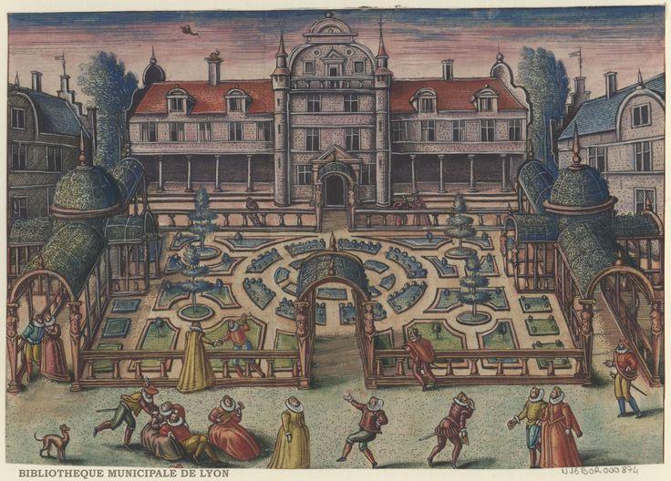 Dance scene in front of the gardens by Peeter van der Borcht, 16th century. Bibliothèque Municipale De Lyon, Public Domain