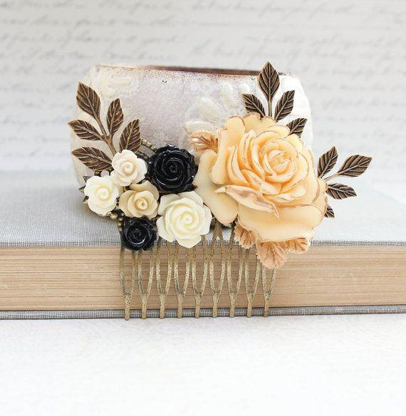 51 Romantic Wedding Hairstyles: Floral Bridal Hair Comb Black Wedding By Apocketofposies