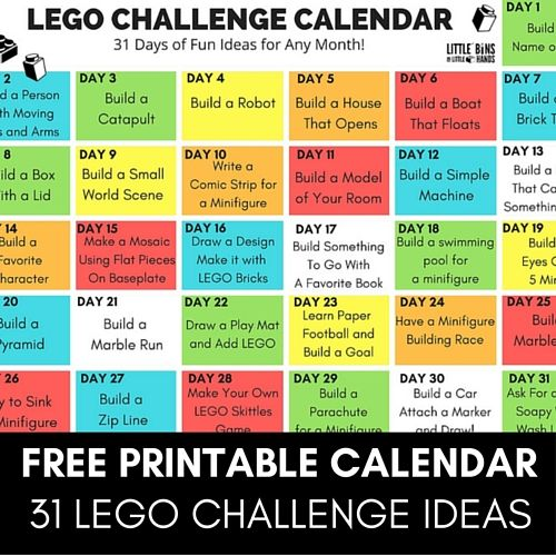 LEGO Challenge Calendar for Kids Free Printable 31 Days of Building Ideas.