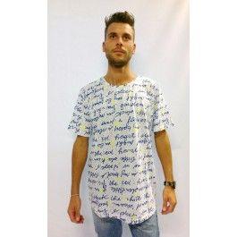 maglia t-shirt scritte blu stelle gialle
