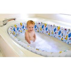 A safe, inflatable, bathtub liner that surrounds the circumference of the inner walls of a standard, adult-size bathtub. This one-of-a-kind product cushions the bathtub to protect a child from injury. Designed in a lovable Sesame StreetTM theme: http://newborn-clothing.net/product.php?id=888