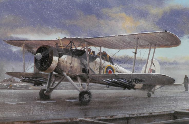 """Fairey Swordfish (1936)  ~~ during the War this Torpedo Bomber \ Anti-Submarine \ Reconnaisance \Trainer Aircraft   ~~  the Fairey Swordfish, was the """"unsung hero"""" of WWII"""
