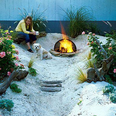 Backyard beach: Gardens Ideas, Diy Ideas, Backyard Ideas, Small Backyard, Backyard Beaches, Firepit, Beaches Gardens, Back Yard, Fire Pit