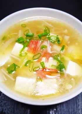 豆腐とカニかまの具だくさん中華スープ by ほっこり~の [クックパッド ...