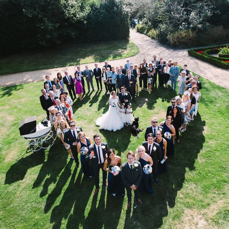 Formal heart group wedding photography