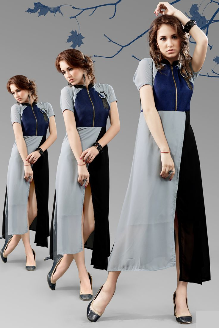 Grey and blue stylish evening wear georgette kurtis and tunics 6931