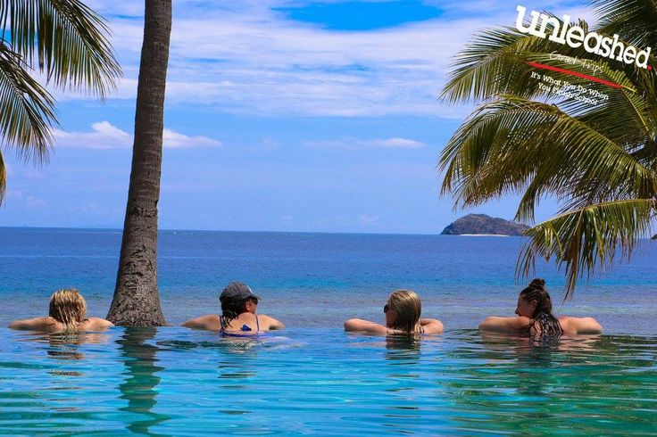 Relax in the pool  and admire the view on Mana Island #thisisgradtrip #tripofalifetime #gradtrip #escapenormal