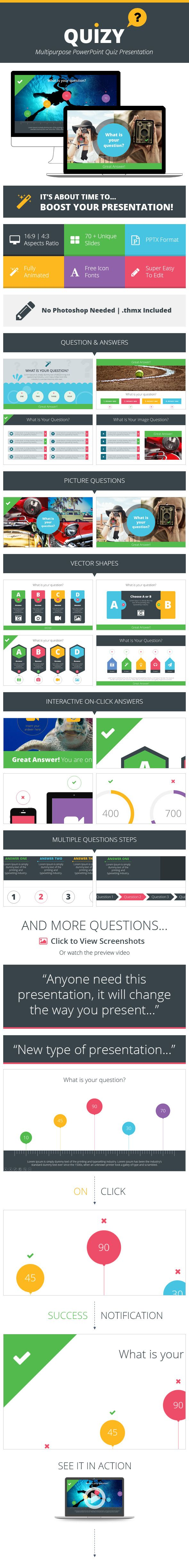 Quizy Multipurpose PowerPoint Quiz Presentation (Powerpoint Templates) image preview