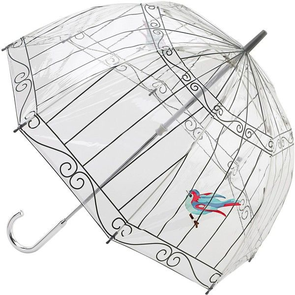 Lulu Guinness Birdcage Umbrella, Clear (680 ZAR) ❤ liked on Polyvore featuring accessories, umbrellas, lulu guinness, see through umbrella, clear umbrella, print umbrella and lulu guinness umbrella