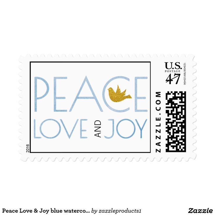 Peace Love & Joy blue watercolor Christmas holiday Stamp