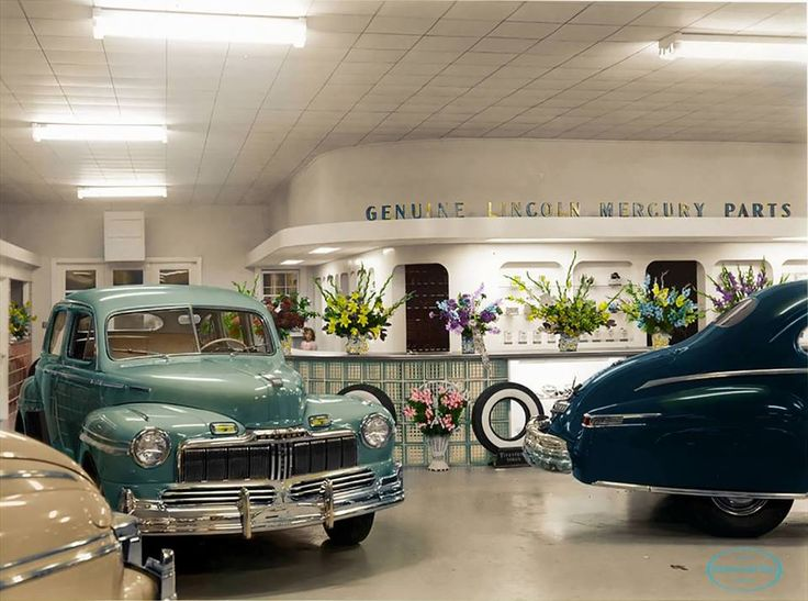 1940s Lincoln-Mercury dealership, Thompson-Schoonover Motors, Topeka, Kansas.